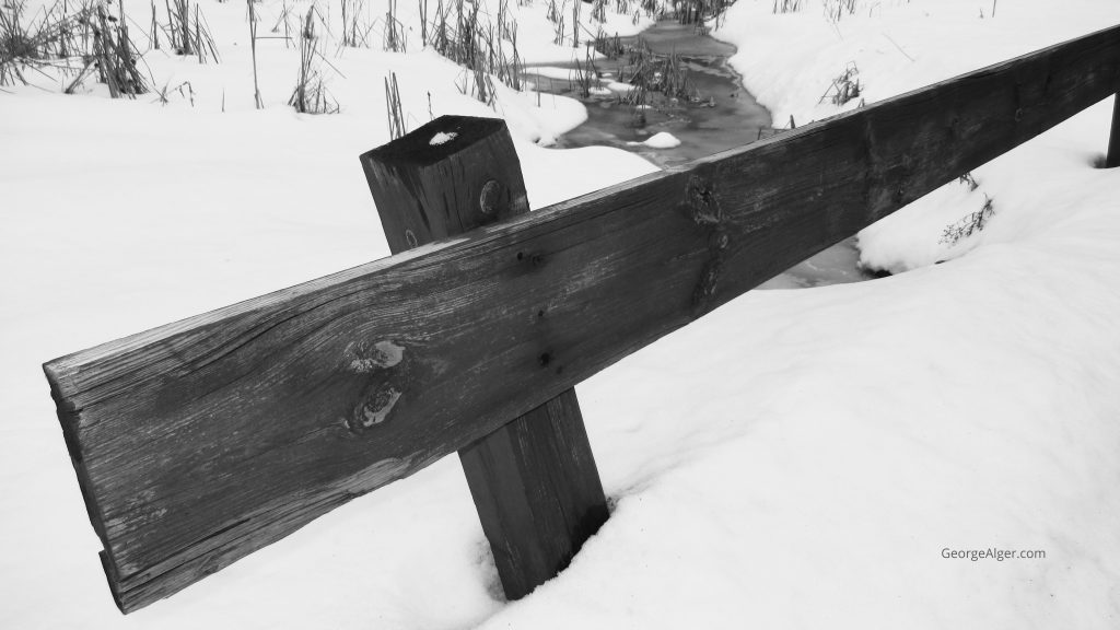 Winter Wooden Guardrail